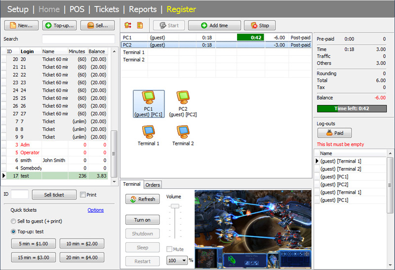 TrueCafe. Internet cafe software full screenshot